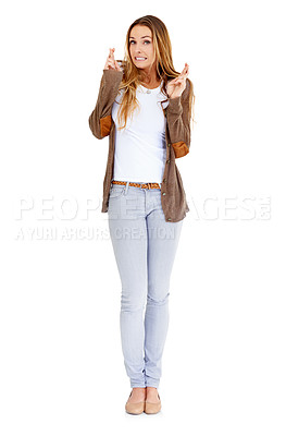 Buy stock photo Portrait of an attractive young woman crossing fingers