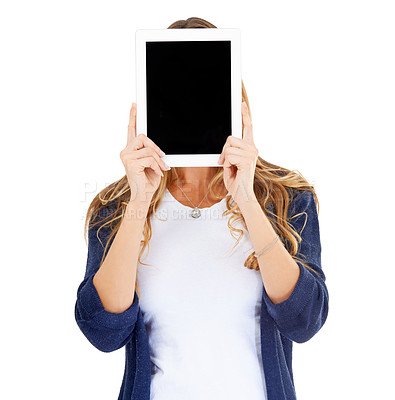 Buy stock photo A young woman holding a digital tablet in front of her face