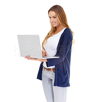 Buy stock photo A young woman holding a laptop - isolated