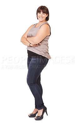 Buy stock photo Full length portrait of a pretty young curvy woman on a white background