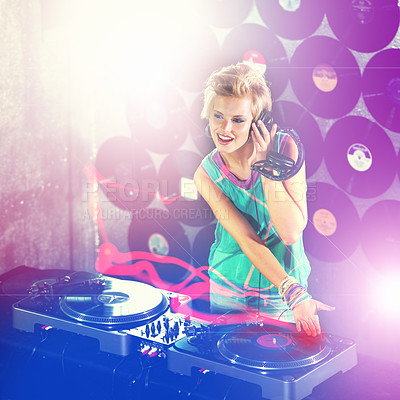 Buy stock photo A young female dj listening to some mixes on her headphones