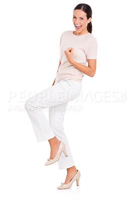 Buy stock photo Full-length studio portrait of an attractive young woman looking excited
