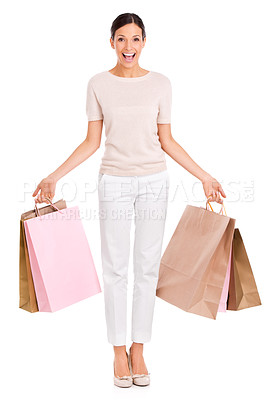 Buy stock photo Full-length studio portrait of an attractive young woman   carrying shopping bags