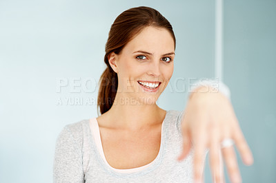 Buy stock photo Hand of beautiful young woman tied with string