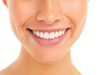 Buy stock photo Cropped shot of a young woman's toothy smile