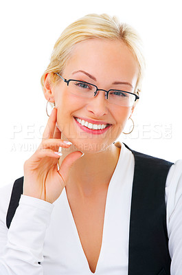 Buy stock photo Studio shot of a young businesswoman pointing to copyspace isolated on white