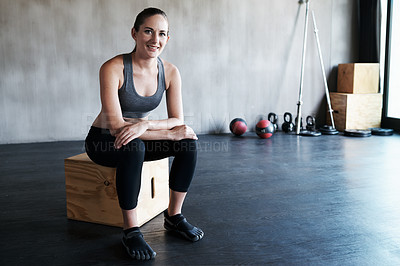 Buy stock photo Portrait of a young woman at the gym