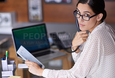 Buy stock photo Portrait of a beautiful young businesswoman working at her desk