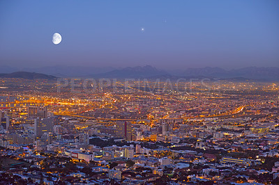 Buy stock photo An evening shot of the city of Cape Town, South Africa