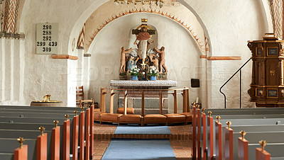 Buy stock photo Inside the 800 year-old Danish National Church of protestant faith