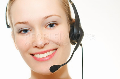 Buy stock photo Exquisitely beautiful woman wearing a headset with brilliant white light and copyspace