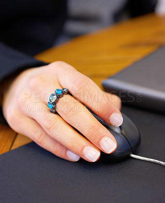 Buy stock photo Young Female hand on Mouse