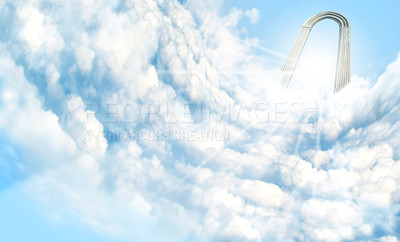 "Buy stock photo Shot of the ""Pearly Gates"" above the clouds"
