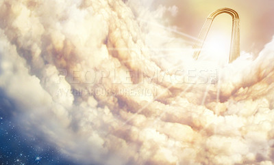 """Buy stock photo Shot of the """"Pearly Gates"""" above the clouds"""