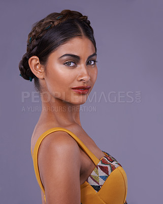 Buy stock photo Portrait of an exotic young woman