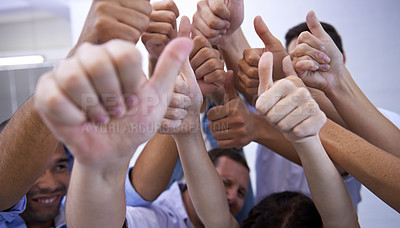Buy stock photo Closeup of office workers giving a group thumbs up