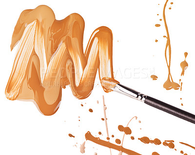Buy stock photo Studio shot of a brush smearing liquid against a white background