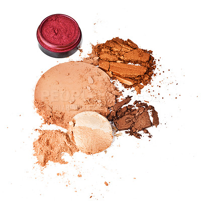 Buy stock photo Shot of crushed makeup against a white background