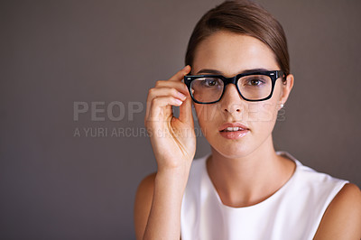 Buy stock photo Beautiful woman wearing glasses