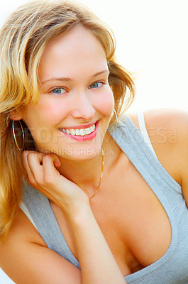 Buy stock photo Studio shot of an all-natural woman isolated on white