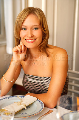 Buy stock photo Formal dinner at a restaurant