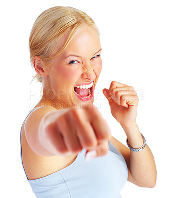 Buy stock photo Attractive young woman shouting and punching directly at the camera, isolated on white - copyspace
