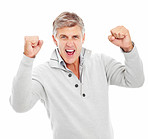 Mature man excited with his hands raised and isolated on a white background