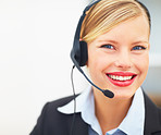 Closeup portrait of happy receptionist with headphones