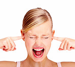 Portrait of disturbed young female screaming while putting finger in her hears