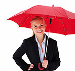 Young business woman holding umbrella isolated on white