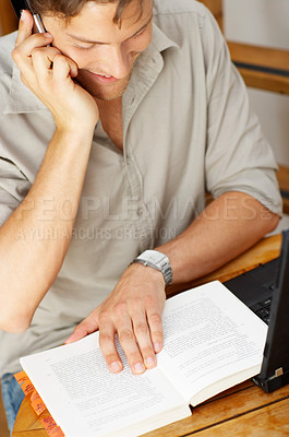 Buy stock photo Casual Young Man on the Phone Working