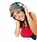 Top view of beautiful young woman listening to music