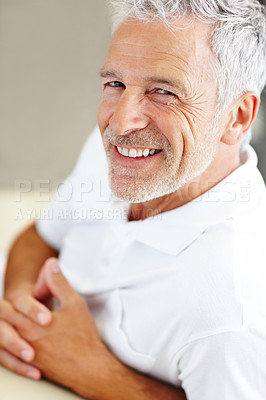 Buy stock photo Portrait of confident senior man smiling