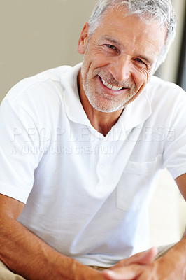 Buy stock photo Happy mature man sitting comfortably