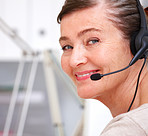 Friendly support woman using a headset