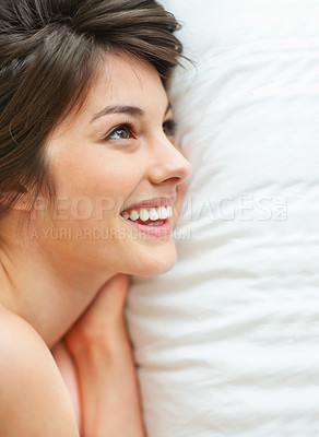 Buy stock photo Happy young lady looking at copyspace