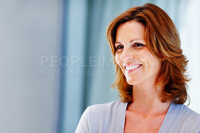 Buy stock photo Beautiful young woman looking at copyspace