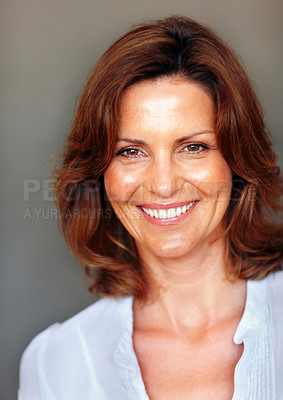 Buy stock photo Closeup portrait of happy young woman smiling
