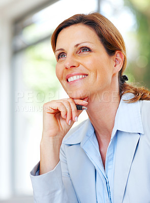 Buy stock photo Happy young business woman thinking about somethin