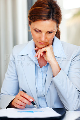 Buy stock photo Account analysis - Confident young business woman