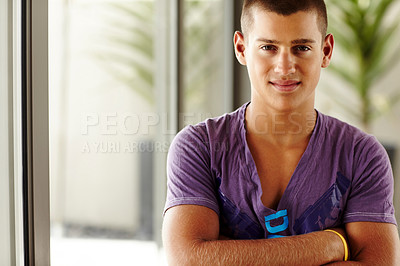 Buy stock photo Portrait of happy young man with his hands folded