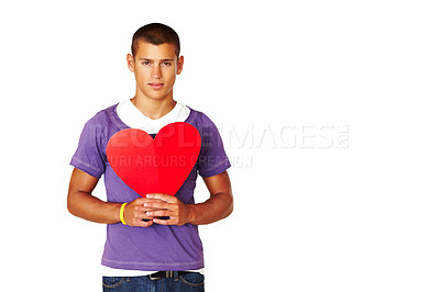 Buy stock photo Smart young man holding heart shape sign