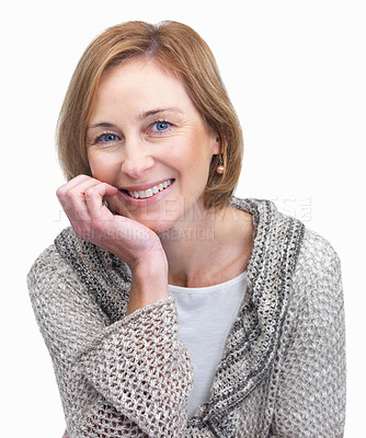 Buy stock photo Portrait of a sweet mature female over white backg