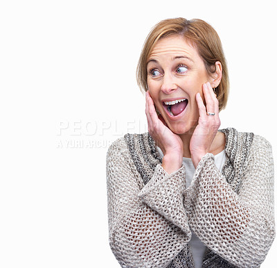 Buy stock photo Surprised mature woman looking at copyspace over w
