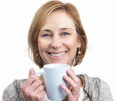 Buy stock photo Portrait of pretty mature woman holding a coffee c