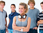Happy young woman smiling with headphones