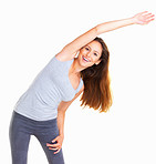 Happy woman stretching her midsection