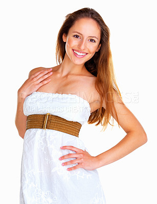 Buy stock photo Woman with hand on hip against white background