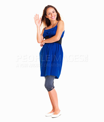 Buy stock photo Smiling woman waving