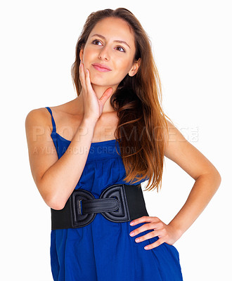 Buy stock photo Woman with hand on face looking up